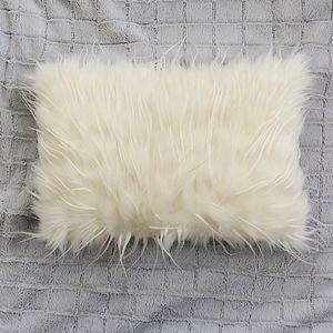Other - Accent Pillow White Faux Fur